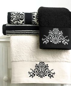 "Bianca ""Black and White"" Towel Collection - Bath Towels - Bed & Bath - Macy's, dad bath Black And White Towels, White Hand Towels, Black White, Striped Towels, White Chic, Pretty Black, Solid Black, Bathroom Towels, White Bathroom"