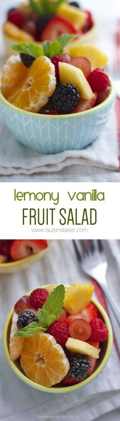 """Healthy Recipes : Illustration Description A light lemon sauce adds just the right amount of zip and tang! """"Life begins at the end of your comfort zone"""" ! Fruit Salad Recipes, Fruit Salads, Fruit Dishes, Dessert Salads, Ceviche, Healthy Snacks, Healthy Recipes, Top Recipes, Veggie Recipes"""