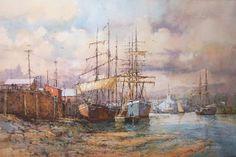 Ian Ramsay Watercolors ~ Ships at Dock, Essex, Massachusetts, circa 1900