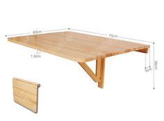 simple wall mounted table | Wall-mounted Drop-leaf Table, Folding Dining Table Desk, Solid Wood ...