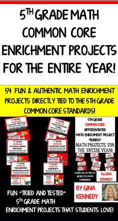 5th Grade Common Core Math Enrichment Projects! BUNDLE