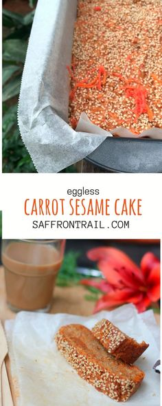 [easy baking] A simple carrot cake recipe, eggless (can be made vegan too), with a sesame seed crust - totally delicious and a must try when red carrots are in season!