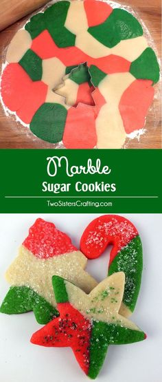 These festive Marble Sugar Cookies are a unique take on traditional Christmas Sugar Cookies and will be one of your family's favorite Christmas Desserts. This is a great Christmas Cookie that is easy to make and tastes great too! Pin this yummy Christmas Treat for later and follow us for more fun Christmas Foods.