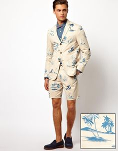Shop ASOS Slim Fit Suit in Beach Print at ASOS. Mens Party Wear, Asos, Preppy Men, Blazer And Shorts, Printed Blazer, Beach Print, Mens Fashion, Fashion Outfits, Wedding Suits