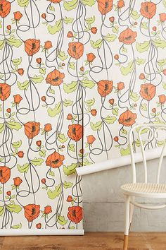 Draping Poppies Wallpaper by Anthropologie in White, Wall Decor Dining Room Wallpaper, Kitchen Wallpaper, Home Wallpaper, Unique Wallpaper, Cottage Style Homes, Room Themes, Poppies, Wall Decor, Draping