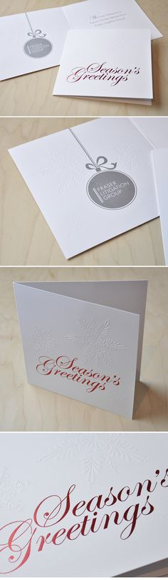 Corporate Christmas Card  |  red foil, silver ink, emboss on matte white stock  |  Design by Nicole Phillips www.visualheart.com