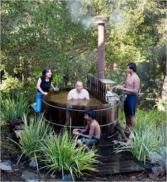 A Wood-Fired Hot Tub for an Old-Style Soak - The New York Times - use of beargrass + sweet peas