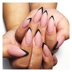 Stiletto nails french tip & stiletto nägel french tip . - Stiletto nails french tip & stiletto nägel french tip & ongles français - Cute Nails, Pretty Nails, My Nails, Nail Designs Pictures, Nail Art Designs, Pointed Nail Designs, Pointed Nails, Pointy Black Nails, Metallic Nails