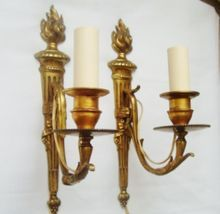 Elegant Pair of Antique Petite French Victorian Bronze Torch Sconces Wall Lamps Neo-Classical