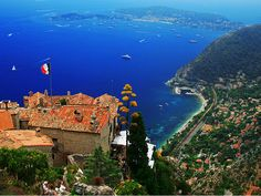 "Eze, France - Eze, often described as an ""eagle's nest"" due to its location overlooking a high cliff 1,400 feet above the Mediterranean Sea along the exotic French Riviera."