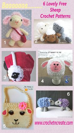 6 free delightful sheep crochet patterns. #crochet