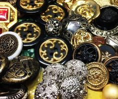 Black and Gold Metalized Plastic and Metal Buttons- Antiqued Brass Vintage Style Plastic Buttons - Sewing Buttons 60+ - B93