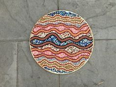 "#Art. #Handmade mixed media, multicolor 18"" d. #abstract design #wallhanging"
