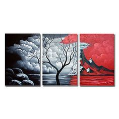Hand-painted Landscape Oil Painting with Stretched Frame - Set of 3 ...BTW,Please Check this out: http://artcaffeine.imobileappsys.com