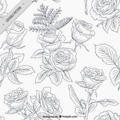 rosas incompletos y de las hojas Vector Gratis