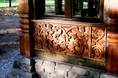 Hand carved window panel inspired by the carvings in the choir stalls in the Dom St. Petri Cathedral in Bremen, Germany. Zakopane in the Sierras. Viking House, Viking Life, Viking Art, Viking Dragon, Stone Carving, Wood Carvings, Wood Stone, Window Panels, Amazing Architecture