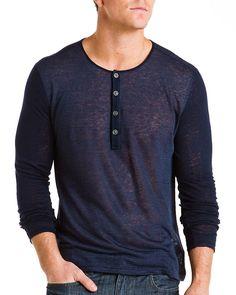John Varvatos Deep Blue Heather Stripe Linen Henley  Men #Shirts