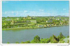 """Chicoutimi, Quebec La partie """"est"""" de la ville, montrant l'Institut du Bon Conseil, l'hopital Hotel-Dieu St-Vallier Vancouver, Canada, River, Outdoor, Travel, Good Advice, Outdoors, Outdoor Games, Outdoor Life"""