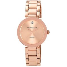 Anne Klein Ladies Rose Gold Tone and Diamond Watch ($75) ❤ liked on Polyvore featuring jewelry, watches, rosegold, diamond watches, dial watches, diamond dial watches, diamond jewellery and polish jewelry