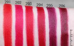 YSL Rouge Pur Couture Les Mats Matte Lipsticks in 201 Orange Imagine, 202 Rose Crazy, 203 Rouge Rock, 204 Rouge Scandal, 205 Prune Virgin, 206 Grenat Satisfaction