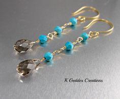 Smoky Topaz Earrings Turquoise Earrings 14k by KGeddesCreations, $35.00