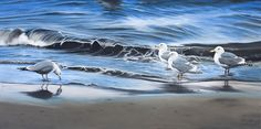 Beach Combing (Seaguls on the beach) Kathy Gray Art Grey Art, Gray, Oil Painters, Silent Auction, Angels, Gallery, Beach, Artist, Painting