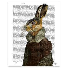 FabFunky - Madam Hare Portrait, Unframed Dictionary Print, 20.5x28cm