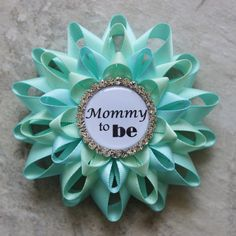 Mommy to Be Pin, Grandma to Be Pin, New Aunt to Be Pin, Nana to Be, Baby Shower Corsage, Aqua Baby Shower Decorations, Aqua Blue, Pale Green by PetalPerceptions on Etsy