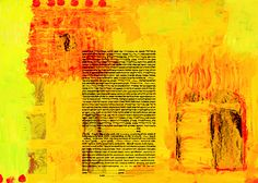 composition in yellow: the 10 commandments ketubah by stephanie adler