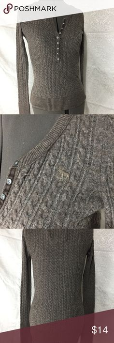 Grey Abercrombie & Fitch Sweater button front v neck, long sleeved taupe sweater. small stitched moose on left chest Abercrombie & Fitch Sweaters