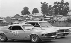 Ed Hinchcliff's Mustang duels with Bob Tullius and the Gray Ghost at Watkins Glen in 1971.