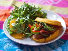 Chorizo Arepas with Arugula & Orange Salad. Visit http://www.blueapron.com/ to receive the ingredients.