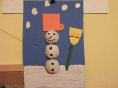 HÓEMBER DIÓBÓL - hóember, tél, karácsony, termés, dió, papír, papírkép