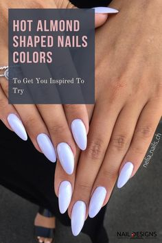 Almond Nails Designs Short Almond Shaped Nails, Almond Shape Nails, Almond Acrylic Nails, Pink Acrylic Nails, Almond Nails Designs, Gel Nail Designs, Winter Nail Designs, Stylish Nails, Trendy Nails