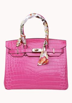 Image of Baginc The Essential Jane Bag With Scarf Croc Leather Hot Pink