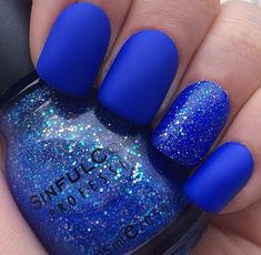 "matte royal blue nails with a glitter pop - follow my board ""Nails that Sail"" for more cool matte finishes and hot nail looks.  ✨"