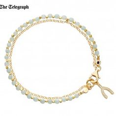 I love this 18ct yellow gold vermeil chain wrapped bracelet with faceted amazonite and wishbone diamond micropave charm from astleyclarke.com