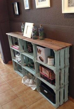 Crates connected together to form cute entryway sideboard!