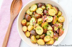 Warm Potato Salad With Tangy Bacon Herb Vinaigrette | Serena Bakes Simply From Scratch