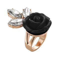 MAWI Rose Crystal Sprig Ring (1.005 RON) ❤ liked on Polyvore featuring jewelry, rings, black, rose ring, swarovski crystal jewelry, black rose jewelry, crystal jewelry and swarovski crystal jewellery