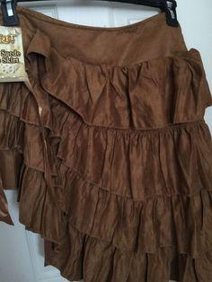 Ladies Skirt Renaissance Tier Size Small Ruffle Suede Brown Polyester Bar Maid #Spirit #Skirt #RenaissanceFestivalTheaterHalloween