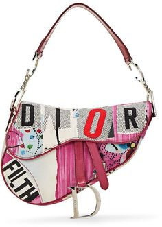 Christian Dior Limited Edition Pink Canvas 'Filth' Saddle Bag - ♛l o v e♛ - Bag Dior Saddle Bag, Saddle Bags, Diorama Dior, Christian Dior, Bag Closet, Virtual Fashion, Dior Fashion, Crossbody Bag, Tote Bag