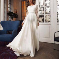 Wedding Dress Low Back, Pregnant Wedding Dress, Long Sleeve Wedding, Wedding Dresses, Long Sleeve Backless Dress, Long Sleeve Maternity Dress, Maternity Dresses, Maternity Wear, White Maxi Dresses