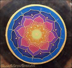 Mandala sur soie No 0152 15 cm 6'' en peinture par ShantiCreation
