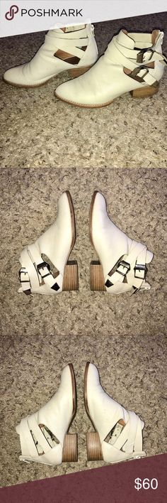 Vintage Buckle Booties Vintage white leather Jeffrey Campbell buckle booties. I initially bought them for myself (I LOVE them) but have finally accepted the fact that they are too small for me :( they are a size 7 and fit true to size (I am a 7.5 and they are too tight). They are perfectly worn in and I am jealous of the person who can fit into them! They'll go with pretty much anything. I labeled them as Urban Outfitters for visibility. Urban Outfitters Shoes Ankle Boots & Booties