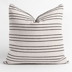 This oversized pillow features a simple black stripe on a woven flax-toned cloth. Equal parts casual and tailored, the raised texture adds depth to the linear pattern. It's perfect for layering and is sure to be your new favourite classic stripe! Neutral Pillows, Large Beds, Clearance Rugs, Dash And Albert, Linear Pattern, Color Of The Year, Home Decor Trends, Black Stripes, Decorative Pillows