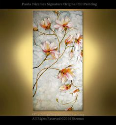 "Ready to ship Magnolia Painting 48"" x 24"" Original Contemporary Textured  Floral  art on canvas by Paula ready to hang"