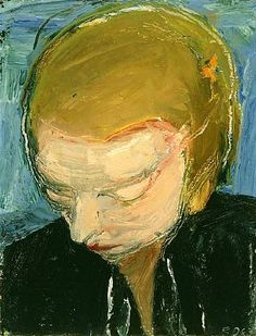 Woman's Head, Blue Background, Richard Diebenkorn , Oil on masonite x in. Richard Diebenkorn, Robert Motherwell, Joan Mitchell, Camille Pissarro, Cy Twombly, Gerhard Richter, Francis Bacon, Paul Cezanne, Mark Rothko
