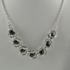 Onyx and Sterling Silver Captured Beaded Chainmaille Necklace