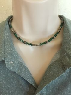 Men's Green Agate necklace, Men's jewelry, Men's stone Jewelry, Men's Gun Metal necklace, Father's Day gift, Men's bead necklace